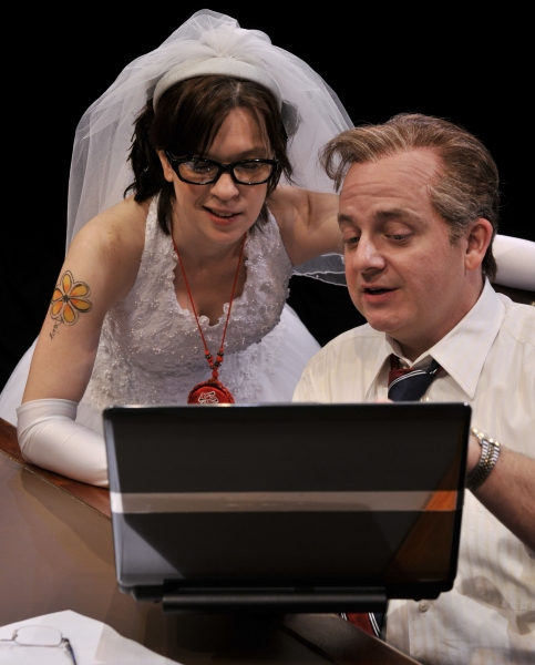 (Left to Right) Elizabeth Bunch as Clarice Bernstein and Jeffrey Bean as Charles Smith in the Alley Theatre's production of November. November runs August 24 – September 23, 2012 on the Neuhaus Stage. Photo by Jann Whaley.