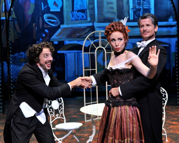 Patrick Richwood (as Boris), Lauralynn McClelland (as Claudine) and Charles West (as Hilaire Jussac)