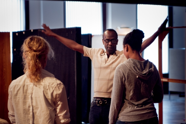Ensemble member K. Todd Freeman (center) directs ensemble members Mariann Mayberry (left) and Alana Arenas (right)  at First Look at Steppenwolf's GOOD PEOPLE in Rehearsal
