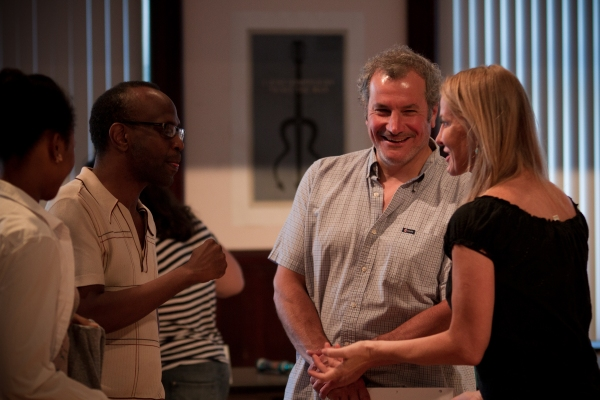 Ensemble members Alana Arenas and director K. Todd Freeman with Keith Kupferer and Lusia Strus at First Look at Steppenwolf's GOOD PEOPLE in Rehearsal