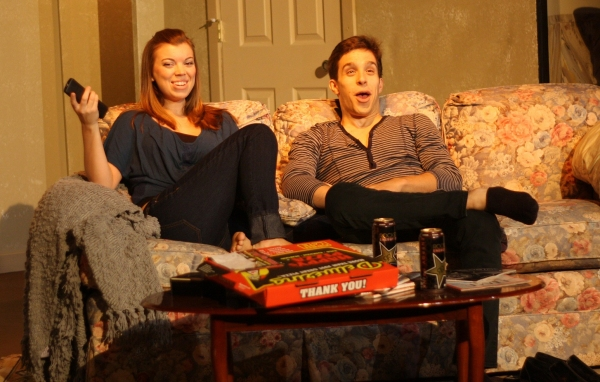 Erin Hildebrandt (Sarah) and Michael Lopetrone (Alex) enjoy making fun of Project Runway.