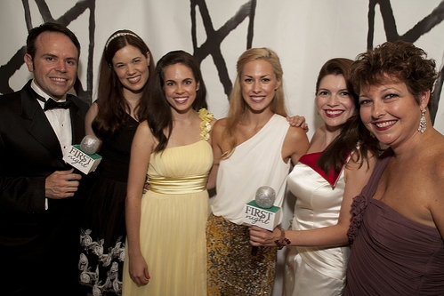 Angela Gimlin, Delaney Amatrudo, Gina D'Arco, Blair Allison, Jennifer Richmond, Cary Street at The 2013 First Night Honors Red (actually Orange) Carpet Arrivals