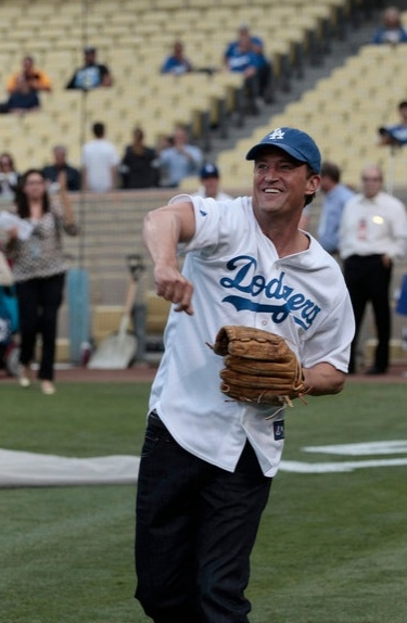 Matthew Perry at GO ON's Matthew Perry Throws First Pitch at Dodgers Stadium