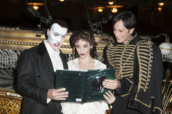 Hugh Panero, Marni Raab and Kyle Barisich at THE PHANTOM OF THE OPERA Earns Spot in Guinness Book of World Records!