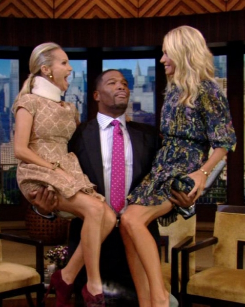 Kristin Chenoweth, Michael Strahan, Kelly Ripa at Kristin Chenoweth on Set of LIVE! WITH KELLY & MICHAEL