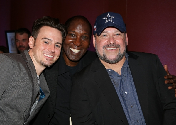 """From left, Cast members Brian Gallagher, Mel Johnson Jr. and Composer Frank Wildhorn pose during the party for the opening night performance of """"Jekyll & Hyde"""" The Musical at the La Mirada Theatre for the Performing Arts on Saturday,  Aug. 8, 2012, in La"""