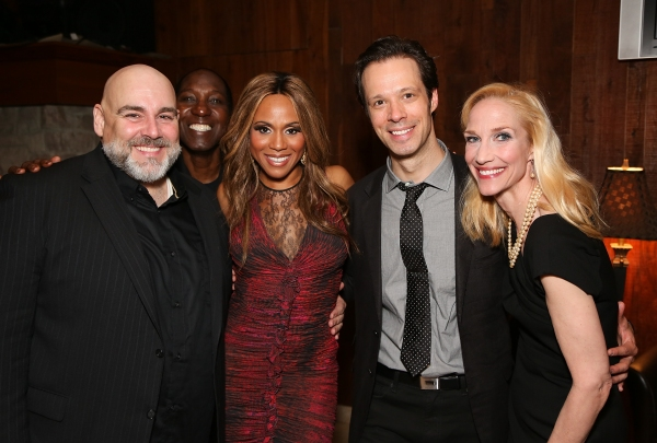 """From left, Cast members David Benoit, Mel Johnson Jr., Deborah Cox, Laird mackintosh and Blair Ross pose during the party for the opening night performance of """"Jekyll & Hyde"""" The Musical at the La Mirada Theatre for the Performing Arts on Saturday, Aug."""