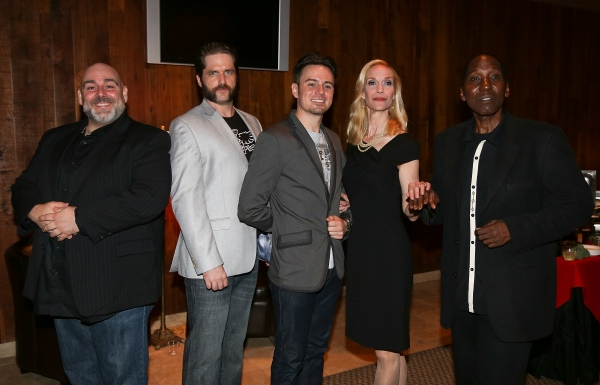 "From left, Cast members David Benoit, Aaron Ramey, Brian Gallagher, Blair Ross and Mel Johnson Jr. pose during the party for the opening night performance of ""Jekyll & Hyde"" The Musical at the La Mirada Theatre for the Performing Arts on Saturday,  Aug. 8"