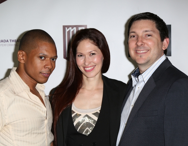 "From left, Lawrence Cummings, April Molina and Jason Niedle pose during the party for the opening night performance of ""Jekyll & Hyde"" The Musical at the La Mirada Theatre for the Performing Arts on Saturday, Aug. 8, 2012, in La Mirada, Calif. (Photo by"