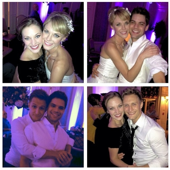 Laura Osnes, Ashley Spencer, Jeremy Jordan, Nathan Johnson  at Jeremy Jordan and Ashley Spencer Tie the Knot!