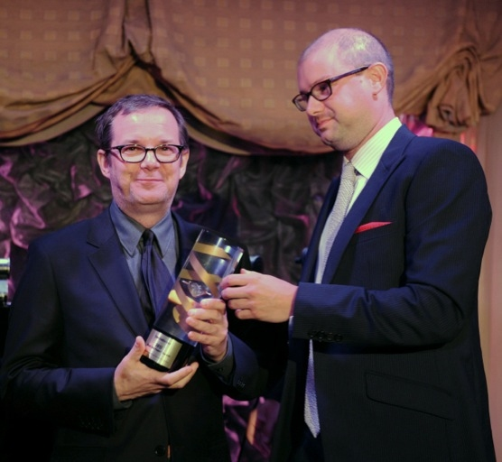 VH1 President Tom Calderone (L) accepts the 2012 Music Has Power® Award from Institute for Music and Neurologic Function Board Member Nick Stern (R) at a celebration of music's power to help and heal people with serious neurological diseases an