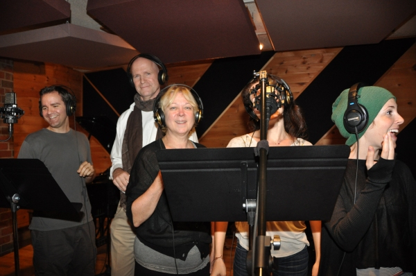 Brian Munn, Michael DeVries, Kathe Mull, Amanda Rose and Kate Fahrner at BWW Photo Exclusive: WICKED Cast Records for 'Carols For A Cure'