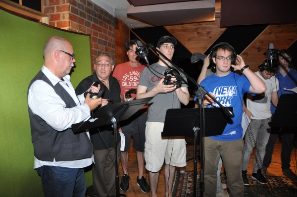 Mark Aldrich, Stuart Zagnit, Stuart Marland, Ben Frankhauser and Evan Kasprzak at BWW Photo Exclusive: NEWSIES Cast Sings for 'Carols For A Cure'