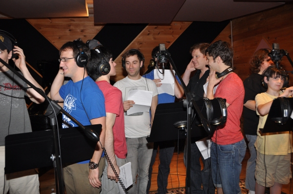 Evan Kasprzak, Andy Richardson, Michael Fatica, Garett Hawe, Mark Aldrick, Thayne Jasperson and Matthew Schechter at BWW Photo Exclusive: NEWSIES Cast Sings for 'Carols For A Cure'