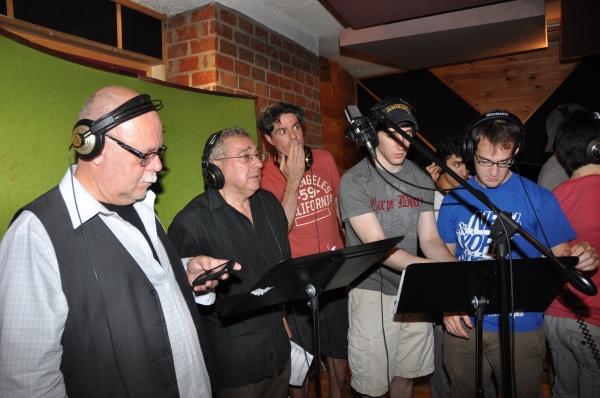 Mark Hummel, Stuart Zagnit, Stuart Marland, Ben Frankhauser and Evan Kasprzak at BWW Photo Exclusive: NEWSIES Cast Sings for 'Carols For A Cure'