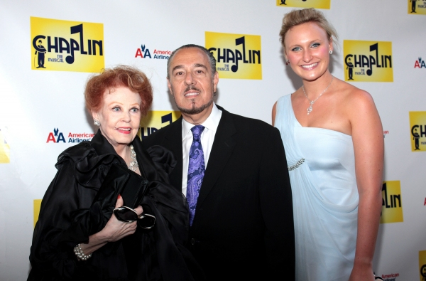 Arlene Dahl, Marc Rosen, and guest at CHAPLIN Opening Night Red Carpet - Jonas x2, Hilty, Ripley & More!