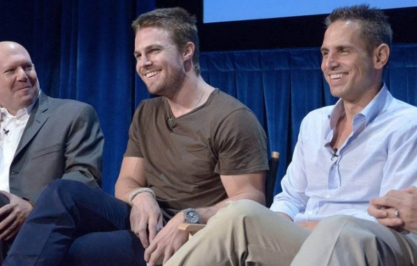 Marc Guggenheim, Stephen Amell and Greg Berlanti  at Berlanti, Amell at Paley 