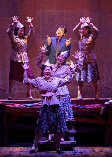 Michael K. Lee as Frankie Suzuki (center) with (from left) Kay Trinidad, MaryAnn Hu, Ann Sanders and Katie Boren in the World Premiere of Allegiance - A New American Musical, with music and lyrics by Jay Kuo and book by Marc Acito, Kuo and Lorenzo Thione