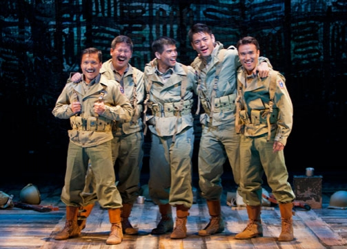 Telly Leung as Sammy Kimura (center) with (from left) Jon Jon Briones, Scott Watanabe, Karl Josef Co and Marc de la Cruz in the World Premiere of Allegiance - A New American Musical, with music and lyrics by Jay Kuo and book by Marc Acito, Kuo and Lorenz