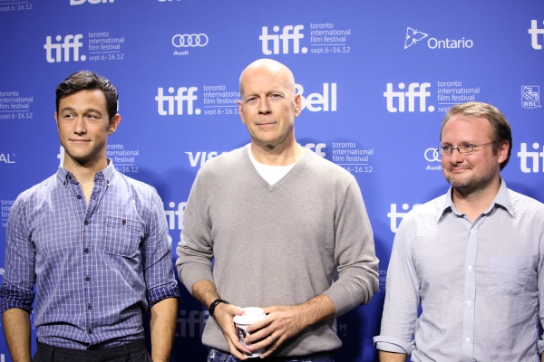 Joseph Gordon-Levitt, Bruce Willis and Director Rian Johnson