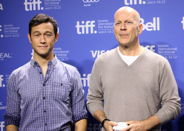 Joseph Gordon-Levitt & Bruce Willis at Bruce Willis, Joseph Gordon-Levitt at LOOPER's TIFF Photo Call