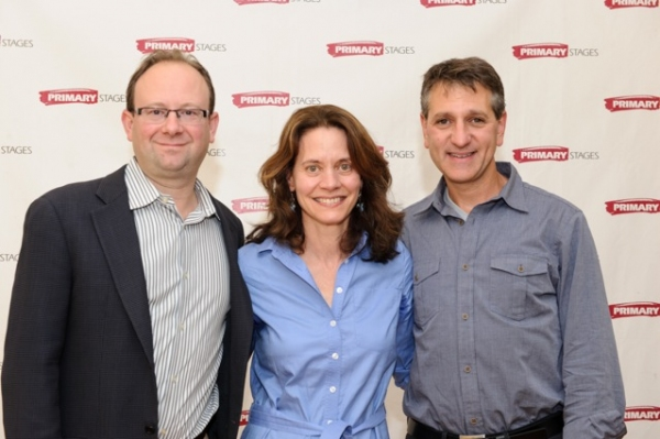 Primary Stages Artistic Director ANDREW LEYNSE (left) and Managing Director ELLIOT FOX (right) with DAISY FOOTE