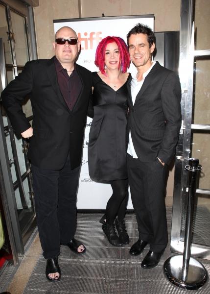 Co-directors Andy Wachowski, Lana Wachowski, and Tom Tykwer