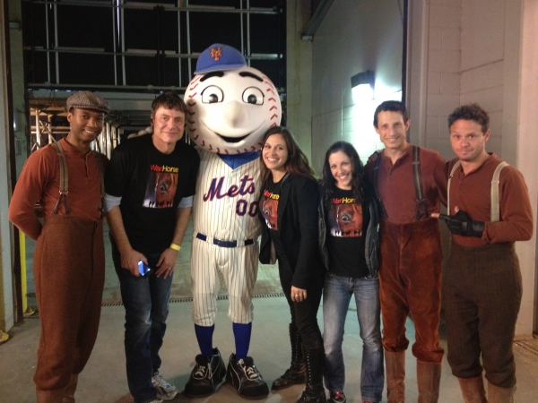Jude Sandy, Jack Spann, MR. MET, Katrina Yaukey, Katy Pfaffl, Jonathan David Martin, Lute Breuer at WAR HORSE Cast Makes Appearance at Citi Field!