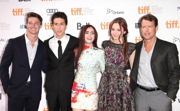 Patrick Schwarzenegger, Nat Wolff, Lily Collins, Liana Liberato and Greg Kinnear atte Photo