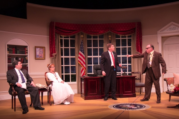 "Tom Libonate as President Charles H.P. Smith, Robyn Maitland as Clarice Bernstein, Jonathan Jacobson as Archer Brown, and Mike Ritts as ""The Turkey Guy"""