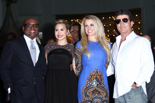 L.A. Reid, Demi Lovato, Britney Spears, Simon Cowell at X FACTOR Second Season World Premiere