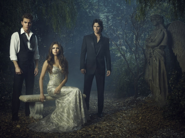 (L-R): Paul Wesley as Stefan, Nina Dobrev as Elena, and Ian Somerhalder as Damon