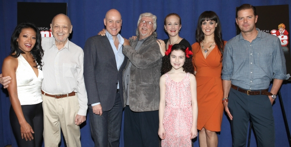 J. Elaine Marcos, Charles Strouse, Anthony Warlow, Martin Charnin, Katie Finneran, Lilla Crawford, Brynn O'Malley and Clarke Thorell   at Cast of Broadway-Bound ANNIE Meets the Press!
