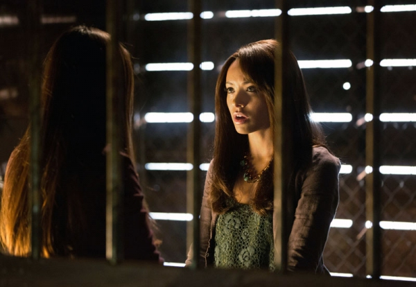 Nina Dobrev as Elena and Kat Graham as Bonnie
