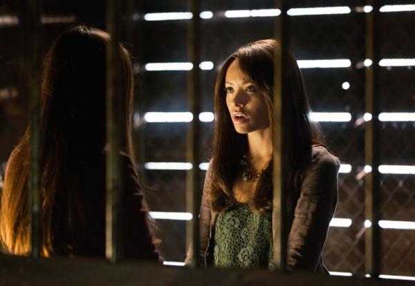 Nina Dobrev as Elena and Kat Graham as Bonnie