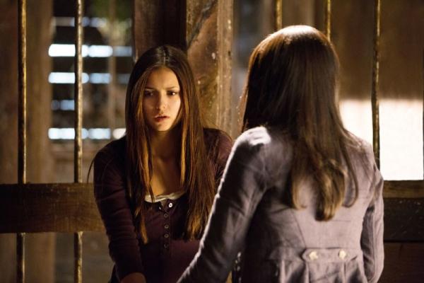 Nina Dobrev as Elena and Kat Graham as Bonnie at First Look at the Season 4 Premiere of THE VAMPIRE DIARIES!