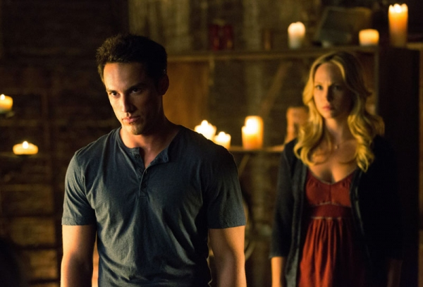 Michael Trevino as Tyler/Klaus and Candice Accola as Caroline at First Look at the Season 4 Premiere of THE VAMPIRE DIARIES!