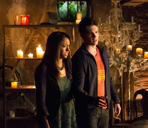 Kat Graham as Bonnie and Steven R. McQueen as Jeremy Gilbert at First Look at the Season 4 Premiere of THE VAMPIRE DIARIES!