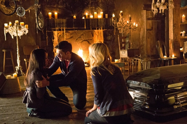 Kat Graham as Bonnie, Steven R. McQueen as Jeremy Gilbert, and Candice Accola as Caroline