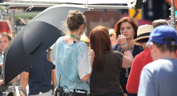 Debra Messing at Photo Coverage Exclusive: On the Set of SMASH with Debra Messing, Christian Borle and More!