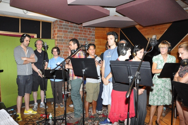 Zak Resnik, Art Soyk, Aaron Mark Kinchen, Andrew Chappelle, Gerard Salvador, Blake Whyte, Lauren Cohn, Catherine Ricafort, Felicia Finley and Adrienne Jean Fisher at Exclusive Photos: MAMMA MIA! Cast Sings for 'Carols For A Cure'