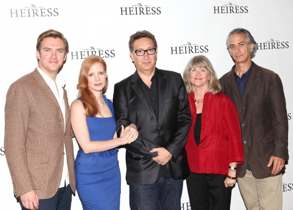 Dan Stevens, Jessica Chastain, Moises Kaufman, Judith Ivey and David Strathairn at Jessica Chastain and THE HEIRESS Cast Meets the Press!