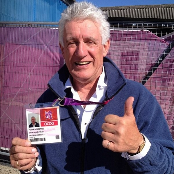 Peter Karrie with the Official Olympic Security Badge