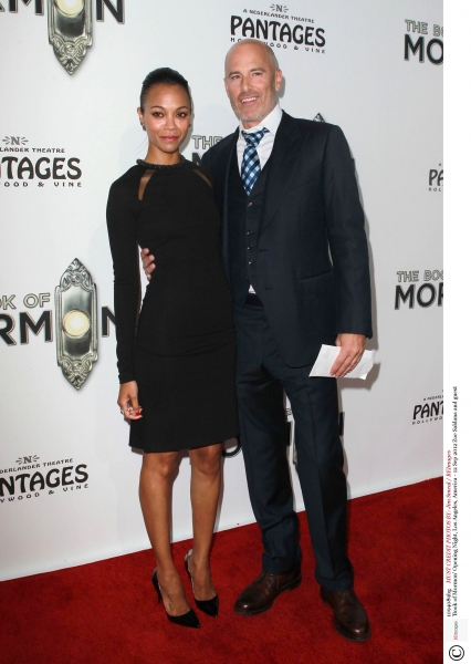 Mandatory Credit: Photo by Jim Smeal / BEImages (1094089bg)Zoe Saldana and guest'Book of Mormon' Opening Night, Los Angeles, America - 12 Sep 2012 at The Stars Come Out in LA for THE BOOK OF MORMON Opening Night Red Carpet