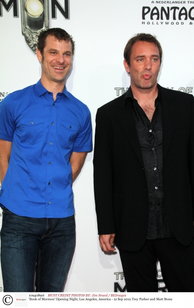 Mandatory Credit: Photo by Jim Smeal / BEImages (1094089et)Trey Parker and Matt Stone'Book of Mormon' Opening Night, Los Angeles, America - 12 Sep 2012