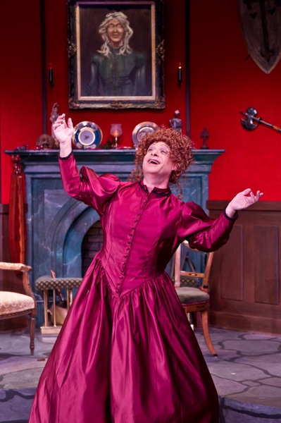 Jamie Torcellini (Billy Elliot, Cats, Man of La Mancha, Beauty and the Beast) as Lady Enid Hillcrest in The Mystery of Irma Vep. Torcellini is nominated for an Ovation Award for Best Lead in a Play. Photo Credit: David Bazemore