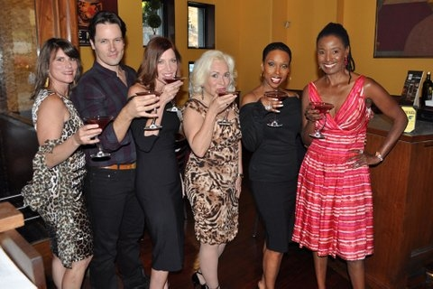 Donna Moore, Danny Bernardy, Catherine Porter, Babs Winn Brenda Braxton, B Smith all pose with The Cougartini