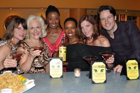 Donna Moore (creator of Cougar the Musical), Babs Winn, B. Smith, Brenda Braxton, Catherine Porter and Danny Bernardy pose with The Cougartini at COUGAR THE MUSICAL's 'Cougartini' Added to B. Smith's Broadway Drink Menu