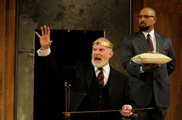 Trinity Rep resident actor Brian McEleney as King Lear, with DTC resident actor Hassan El-Amin as Kent