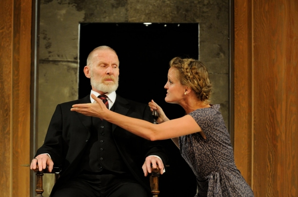 Trinity Rep resident actor Brian McEleney as Lear with DTC resident actor Abbey Siegworth as Cordelia